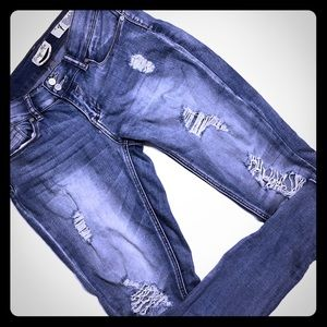 Indigo Rein | Faded Highly Distressed Skinny Jeans
